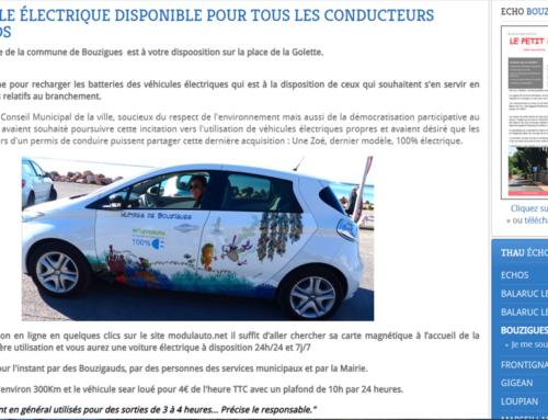 Un véhicule électrique disponible en autopartage pour tous les conducteurs bouzigauds (Thau Infos)