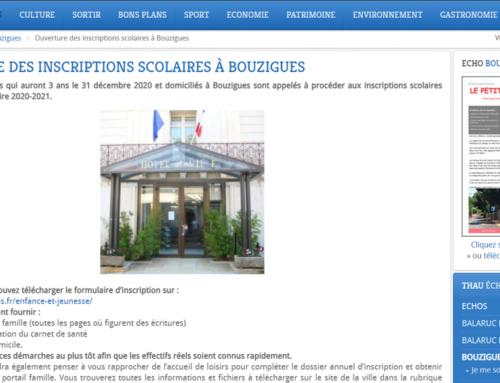 Ouverture des inscriptions scolaires à Bouzigues (Thau Infos)