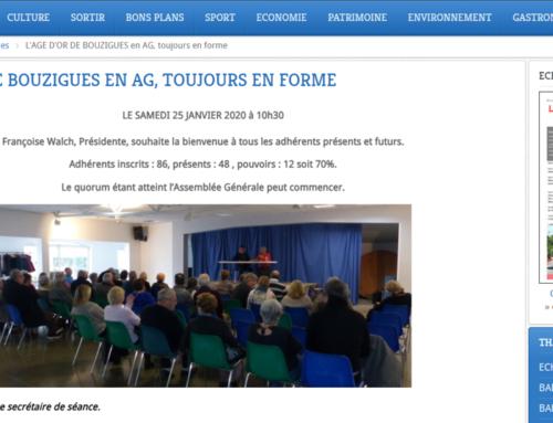 L'AGE D'OR DE BOUZIGUES EN AG, TOUJOURS EN FORME (THAU INFOS)