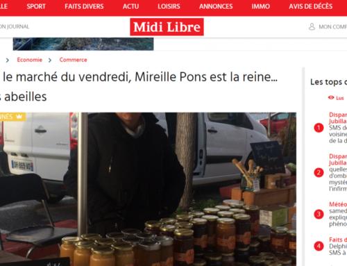 Sur le marché du vendredi, Mireille Pons est la reine… des abeilles (Midi Libre)